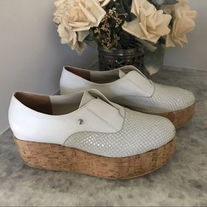 Shoes - Platform white leather slip on leather shoes